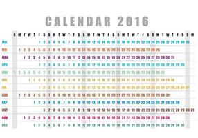 Horizontal Calendar 2016 Vector