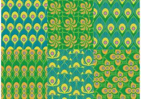 Vetores verdes do padrão do pavão