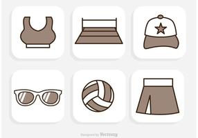 Beach Volleyball Icons Vector