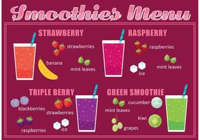 Vecteur menu smoothie