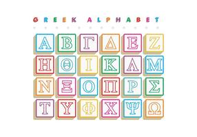 O grego Alphabet Blocks Vector Free