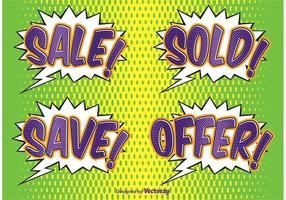 Comic Style Sale Labels vector