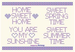 Etiquetas de texto do estilo do vetor Cross Stitch