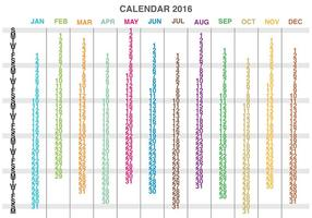 Spalten Kalender 2016 Vektor