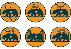 Iconos del vector del oso de California