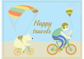 Glad Travels Cykling Karaktär Vektorer