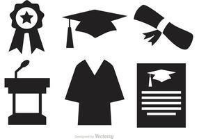 Ícones do vetor da graduação da silhueta