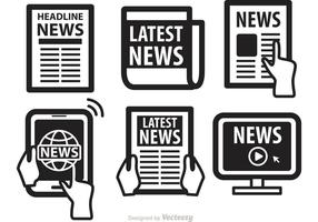 Newspaper Media Icons Vectors