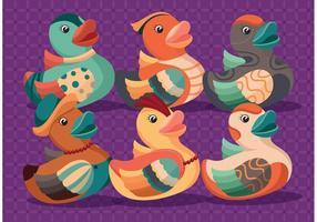 Vecteurs de canard en caoutchouc colorés