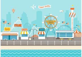 Coney Island Cityscape Vector