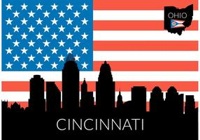 Free Cincinnati Skyline With USA Flag Vector