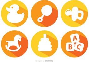 Long Shadow Baby Toys Vector Icons