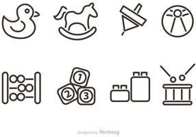 Delineato icone vettoriali giocattolo bambino