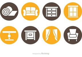 Circlular Home Interior Icon Vectors