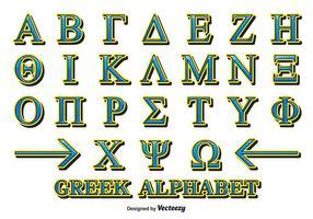 Vector de alfabeto grego decorativo
