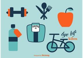 Ícones de vetor de esporte e dieta