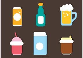 Vetor de ícones de bebidas lisas