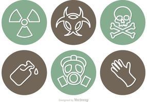 Ícones circulares do vetor de perigo