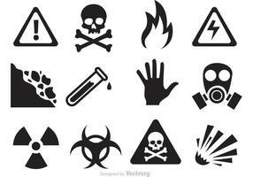 Vettori di icona di pericolo e di avvertimento