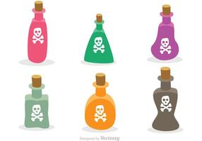 Flat Poison Bottles Vectors