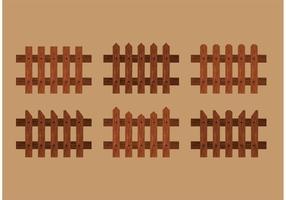 Vetores de vedação de piquete de madeira
