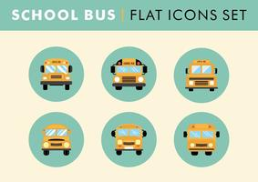 Flat School Bus Icons Set Vector