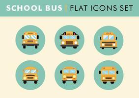 Flat School Bus Icons Set Vector