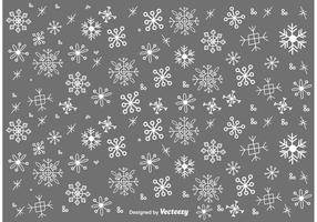 Snow Flakes Doodles Vector Set