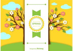 Spring Background Label Template vector