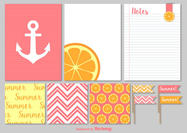 Summer Notes and Paper Scrapbook Vector Elements