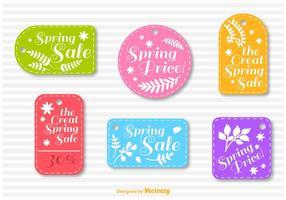 Primavera de venta cosida insignia vectores