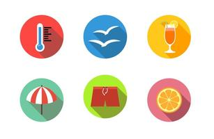 Summer Beach Flat Icons