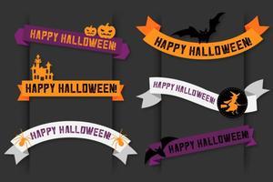 Happy Halloween Vector Banner Ribbons