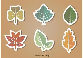 Insieme dell'icona di vettore di foglie piatte