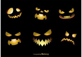 Spooky Jack-o-lantern Vector Faces