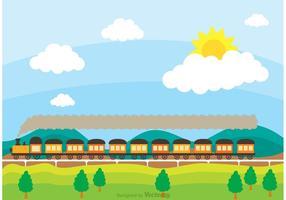 Tåg på järnväg med Rolling Hilsl Vector