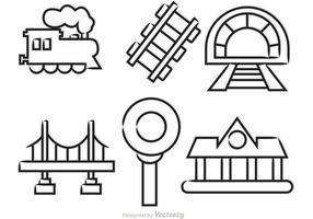 Ícones ilustrados do vetor do trem