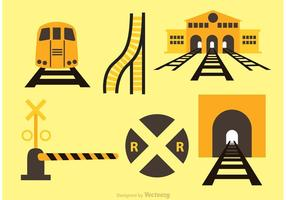Iconos Del Tren Y De La Estación Del Vector