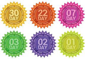 Vettori di badge di prova gratuita brillante