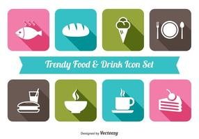 Trendy Essen trinken Icon Set