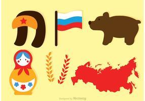 Iconos vectoriales rusos planos