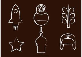 Kreide Drawn Russisch Vektor Icons