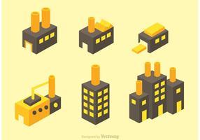 Ícones do vetor da fábrica isométrica