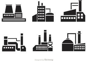 Iconos de la silueta de la fábrica del vector