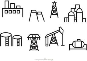 Icônes de contour de l'huile et de l'industrie