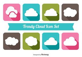 Trendig moln ikonuppsättning