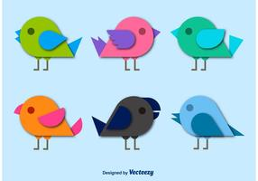 Birds Cartoon Flat Paper Style Vectors