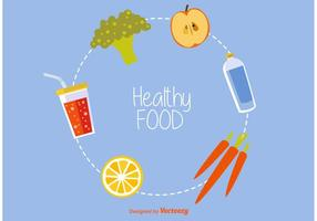 Iconos de vectores de alimentos saludables