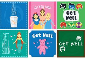 Get Well Soon Tarjetas Vector Pack