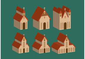 Isometric-country-church-vectors